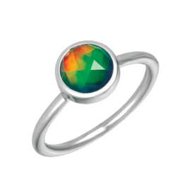 Korite Korite Tia Ammolite Ladies Bezel Set Sterling Silver Ring