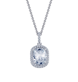 Lafonn Lafonn Cushion Halo Simulated Diamond Sterling Silver Necklace