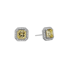Lafonn Lafonn Sterling Silver Halo studs with Simulated Canary