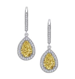 Lafonn Lafonn Canary Sterling Silver Platinum Plated Teardrop Simulated Diamonds Dangle Earrings