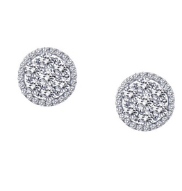 Lafonn Lafonn  Halo Cluster Sterling Silver Earrings with Platinum Plating