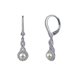 Lafonn Lafonn Sterling Silver Pearl Drops with Simulated Diamonds