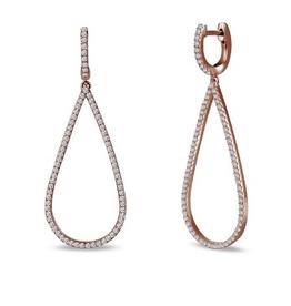 Lafonn Lafonn Sterling Silver Rose Plated Pave Dangle Earrings