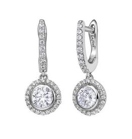 Lafonn Lafonn Sterling Silver Platinum Bonded Halo Simulated Diamond Ladies Earrings