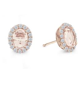 Lafonn Lafonn Oval Halo Earrings with Rose-cut simulated Morganite