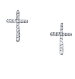 Lafonn Lafonn Cross Studs in Sterling Silver with Simulated Diamonds