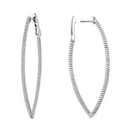 Lafonn Lafonn inside out hoop earrings with Hinged Lock in Sterling Silver