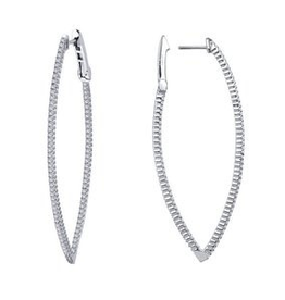 Lafonn Lafonn Sterling Silver Patinum Plated Simulated Diamonds Inside Out Hoop Earrings