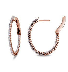 Lafonn Lafonn Rose Gold plated Inside Out hoops in Sterling Silver