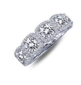 Lafonn Lafonn Elegant Cushion Halo Band With Simulated Diamonds In Sterling Silver Bonded With Platinum