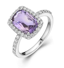 Lafonn Lafonn Checkerboard-cut  Genuine Amethyst  Halo Sterling Silver With Simulated Diamonds Ladies Ring