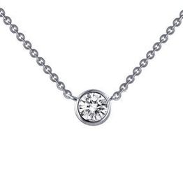Lafonn Lafonn Bezel Solitare Simulated Diamond Sterling Silver Necklace
