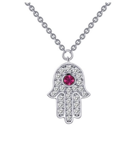 Lafonn Lafonn Hamsa Simulated Ruby and Diamond Necklace