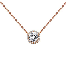 Lafonn Lafonn Round Halo Necklace In Sterling Silver With Simulated Diamonds In Rose Gold Plating