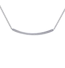 Lafonn Curved Bar Necklace CZ Sterling Silver