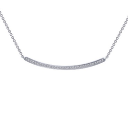 Lafonn Lafonn`s Silver Curved Bar Necklace with Simulated Diamonds