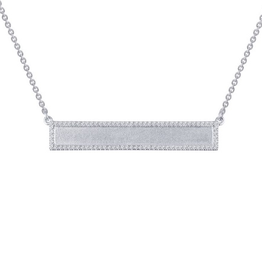 Lafonn Lafonn Silver Matte Finish Bar Necklace with Simulated Diamonds