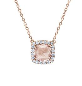 Lafonn Lafonn Halo Simulated Morganite and Diamond Rose Gold Bonded Necklace