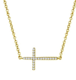Lafonn Lafonn Sideway Cross in Sterling Silver With Gold Plating