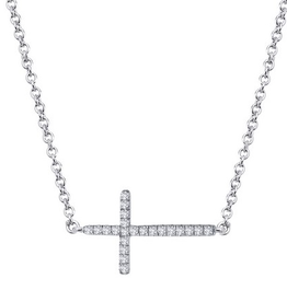 Lafonn Lafonn Sideway Cross Simulated Diamonds Sterling Silver Necklace