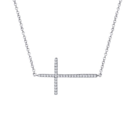 Lafonn Lafonn Sideway Cross Simulated Diamond Sterling Silver Necklace
