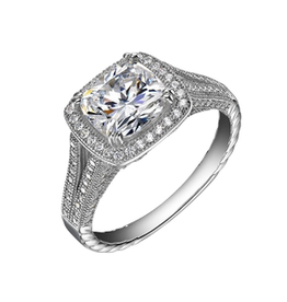 Lafonn Lafonn Cushion Halo VIntage Style Sterling Silver With Simulated Diamond Ladies Ring