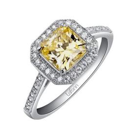 Lafonn Lafonn Canary Sterling Silver Platinum Plated Simulated Diamond Halo Ring