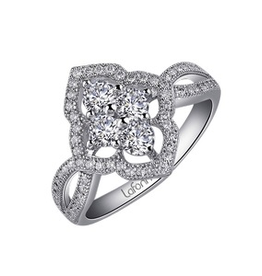 Lafonn This art nouveau inspired ring is set with Lafonn's signature Lassaire simulated diamonds in sterling silver bonded with platinum.