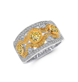 Lafonn Lafonn Wide Band With Clear and Canary Simulated Diamonds in 2-tone Sterling Silver Bonded with Platinum