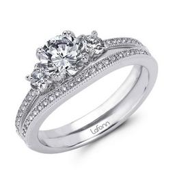 Lafonn Lafonn Sterling Silver Platinum Plated Simulated Diamonds Three Stone Engagement Ring with Wedding Band