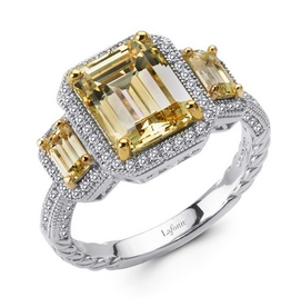 Lafonn Lafonn Glamorous Simulated Diamonds and a Simulated Canary Diamond in Sterling Silver Ladies Ring -Bonded with Platinum.