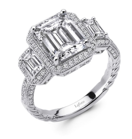 Lafonn Lafonn Glamorous Vintage 3 stone Emerald cut  Sterling Silver Simulated Diamond Ladies Ring