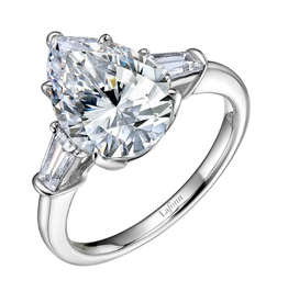 Lafonn Lafonn Pear Shaped Centre with Baguette Sides Simulated Diamond Ladies Ring