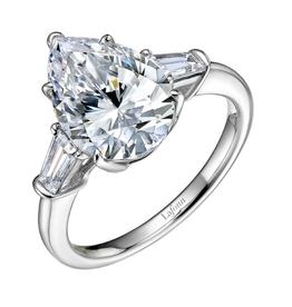 Lafonn Lafonn Sterling Silver Platinum Plated Simulated Diamonds Classic Three-Stone Pear Shape Engagement Ring