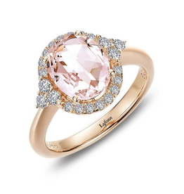 Lafonn Lafonn Simulated Morganite Diamond Halo Sterling Silver Ladies Ring