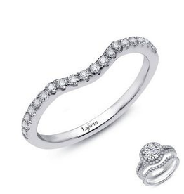 Lafonn Lafonn Curve Band Set with Simulated Diamonds in  Sterling Silver Platinum Bonded Ladies Ring