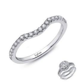 Lafonn Lafonn Sterling Silver Platinum Plated Simulated Diamonds Half-Eternity Curved Band