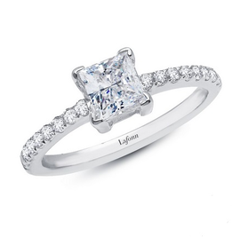 Lafonn Lafonn Princess Lassaire Simulated Diamond Platinum Bonded Sterling Silver Ring