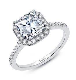 Lafonn Lafonn Sterling Silver Platinum Plated Simulated Diamonds Princess Cut Halo Engagement Ring