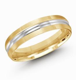 Malo 10K Yellow and White Gold (5mm) Double Ridge Brushed Edges Wedding Band