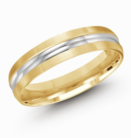 Malo Yellow and White Gold Double Ridge 5mm Men's Wedding Band