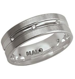 Malo Malo White Gold Brushed (0.12ct) Mens Diamond Ring