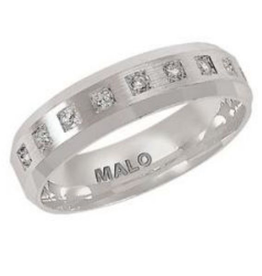 Malo Malo White Gold Satin Finished (0.20ct) Mens Diamond Ring