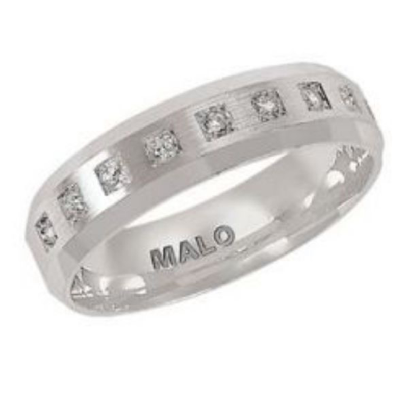 Malo Malo White Gold Satin Finished (0.20ct) Mens Diamond Ring