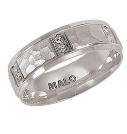 Malo Malo Mens White Gold Hammered Diamond Band (0.09ct)