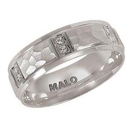 Malo Malo Mens  White Gold Hammered Diamond Band
