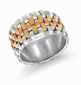 Mardini Mardini Weave Tri Gold 10K Mens Band