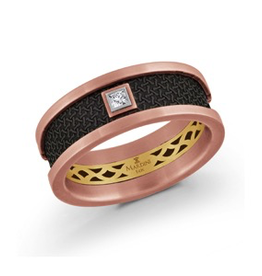 Mardini Mardini Carbon Fiber & Rose Gold Mens Diamond 14K Band