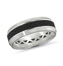 Mardini Mardini Carbon Fiber & White Gold Mens 14K Band