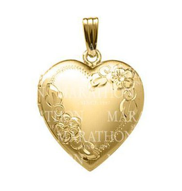 Yellow Gold Filled Hand Engraved Floral Heart Locket